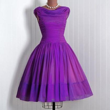 1950S Vintage Prom Dress, Purple Pr..