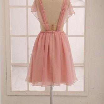 Pink Sleeveless Sweetheart Ruched C..