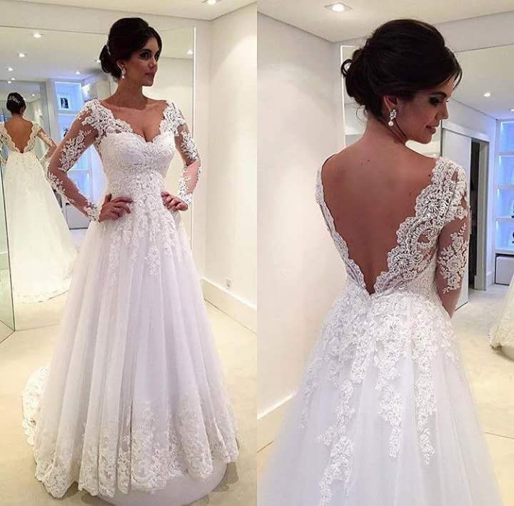 Beach Wedding Dresses A-line Deep V-neck Tulle Lace Backless Vintage ...