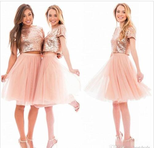 Sparkly Blush Pink Rose Gold Sequins Bridesmaid Dresses Beach Cheap