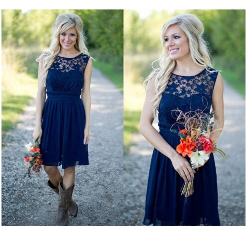 Country Bridesmaid Dresses 2017 For Weddings Illusion Neck Chiffon Lace Navy Blue Sash Party Knee