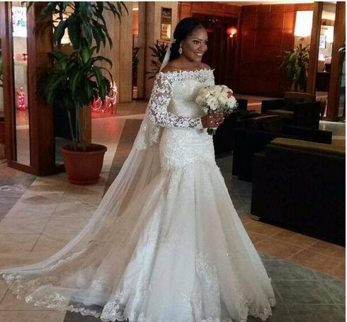 Sheer Long Sleeve Lace Mermaid Wedding Dresses With Applique Sequins Vintage 2018 Off Shoulder Tulle Trumpet Bride Bridal Gowns