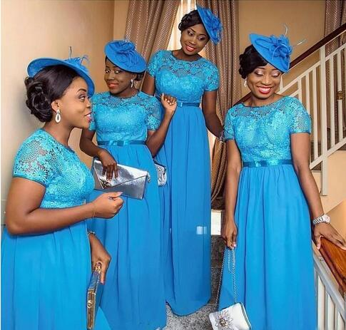 Hot Sale Nigerian African Bridesmaid Dresses Blue Lace Short Sleeves
