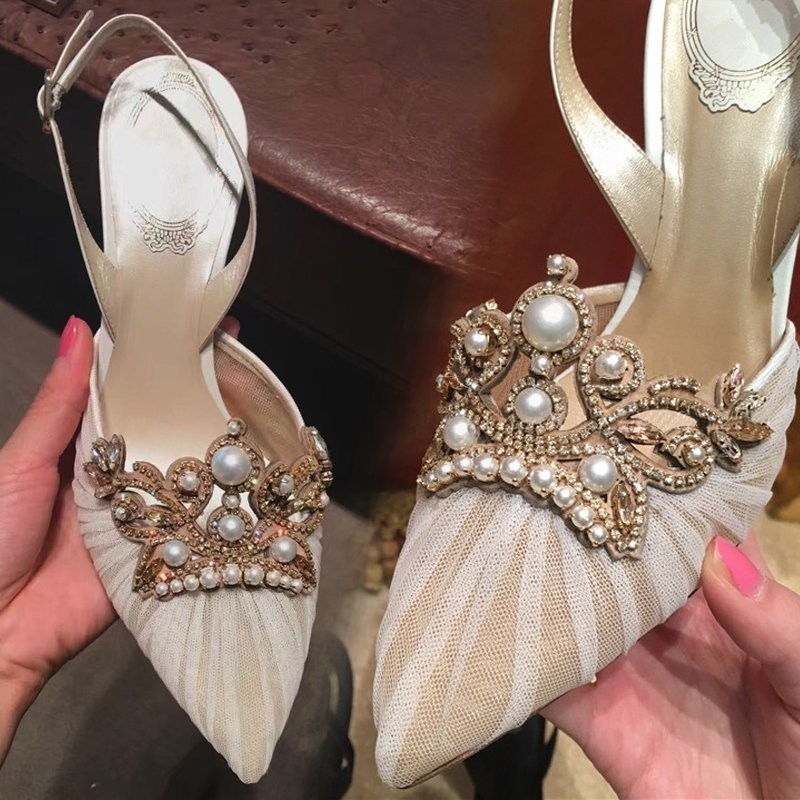 2017 ivory /black lace crystal and pearls women shoes for wedding pump bridal sandals shoes for prom bridesmaid party evening