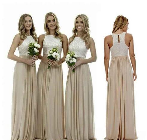 Y Long Champagne Chiffon Bridesmaid Dresses Lace Beach Bridesmaids Dress Plus Size Wedding Guest Gowns Country