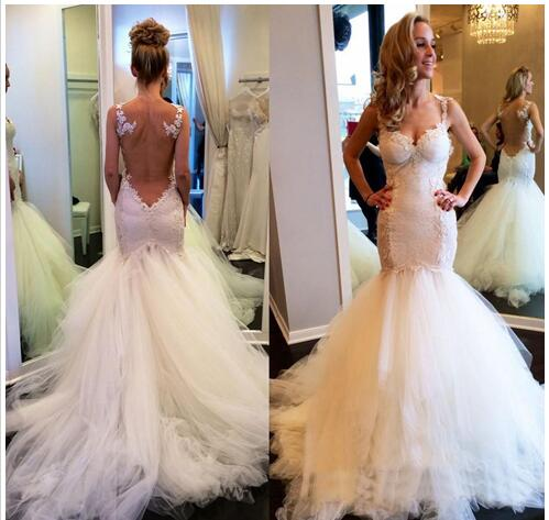 Wedding Dresses Gowns Illusion Backless Mermaid Bridal Gowns Tulle ...