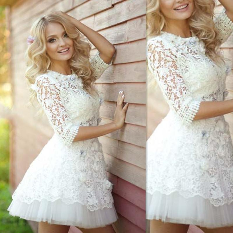 Mini Dresses Wedding Gowns 2018 Sheer Lace Short Half Sleeves ...