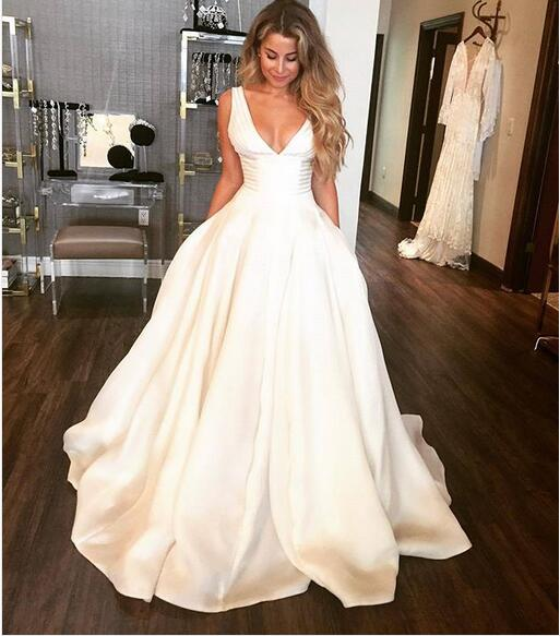 2018 Ball Gown Satin Wedding Dresses Sexy Deep V Neck Simple Gorgeous Puffy Bridal Gowns