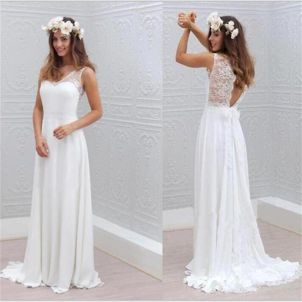 Chiffon Lace Simple Beach Open Back Beautiful Wedding Dresses