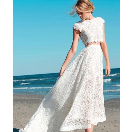 190414ff46 Custom Made Summer 2018 Sexy Two Pieces Bohemian Wedding Dresses Lace Crop  Top Vintage High Low