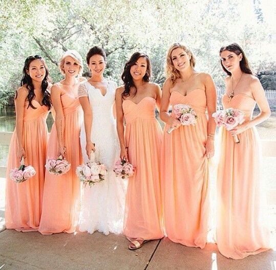 2018 Orange Bridesmaid Dress Sweetheart Chiffon Dresses Long