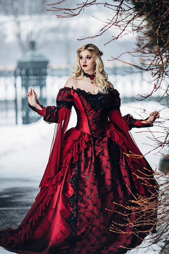 835c89e34b5d7 Gothic Sleeping Beauty Princess Medieval Red And Black Ball Gown Wedding  Dress Long Sleeve Lace Appliques Victorian Bridal Gowns