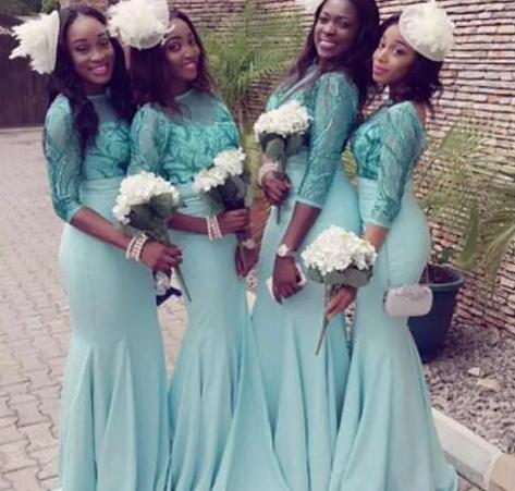 b47695bffb15 Vestidos Turquoise Long Sleeves Bridesmaid Dress 2018 Spring Sparkly  Sequins Mermaid Maid Of The Honor Gown Nigeria Arabic Evening Prom Wear