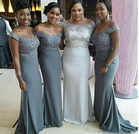 8667f9c140d Off the Shoulder Long Bridesmaid Dresses 2018 Plus Size African Sexy Maid  Of Honor Gowns Wedding