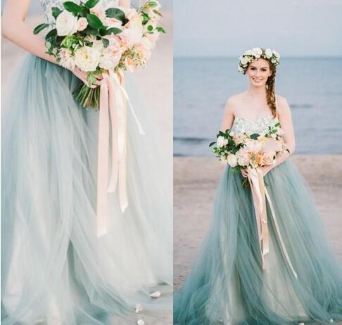 Vintage Colorful Country Beach Wedding Dresses A Line Strapless ...
