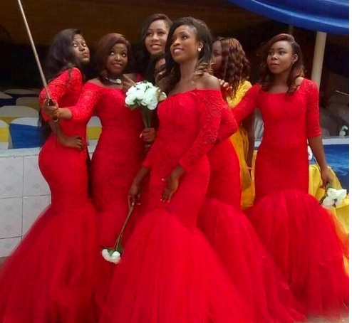 7d82b0620e5 Elegant South African Style Nigerian Bridesmaid Dresses 2018 Lace Plus Size  Mermaid Maid Of Honor Gowns For Wedding Lace up Red Tulle gown