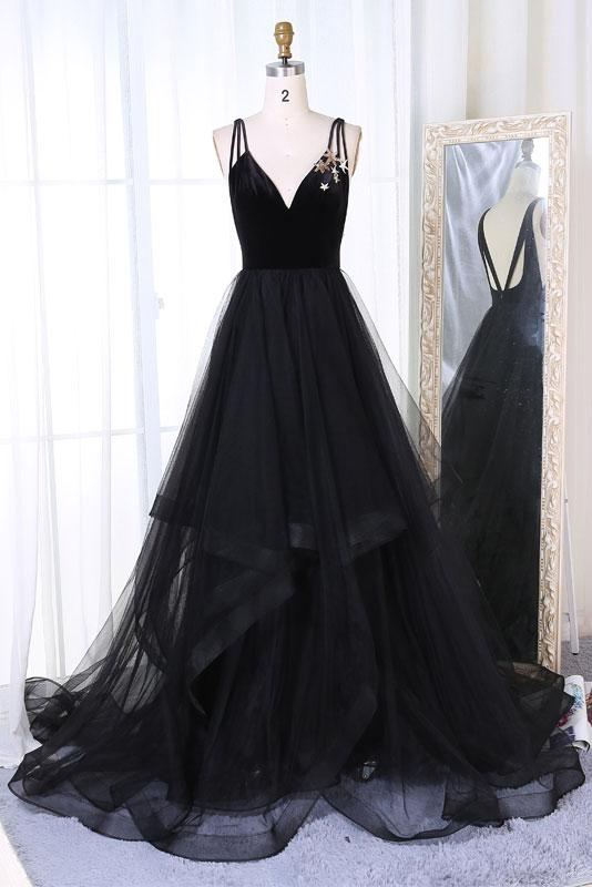 d6599cbf41 Simple Black Tulle V Neck Long Prom Dress, Black Evening Dress on Luulla
