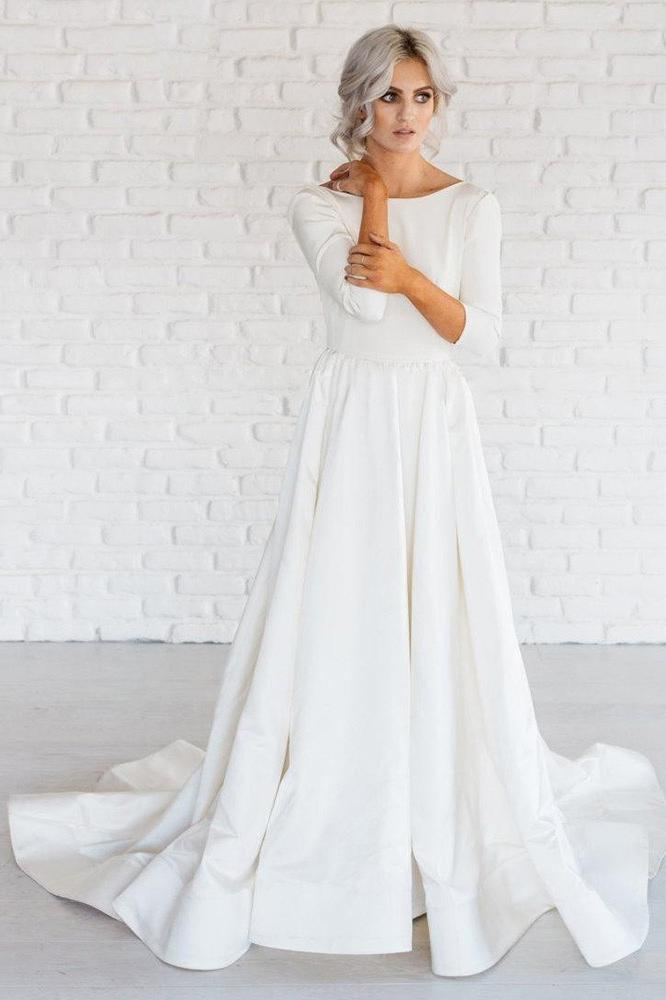 Simple White A Line Satin Sweep Train 3 4 Sleeve Backless Wedding Dresses