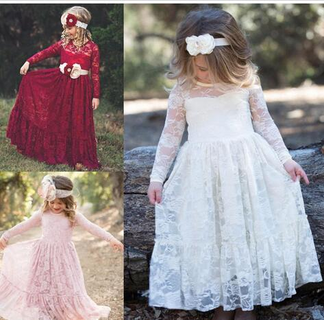 f8f187682f5 Fully Lace First Communion Dresses for Girls 2018 Long Sleeves Flower Girl  Dress Ankle Length Jewel Neck Kids Birthday Formal Wear Gown