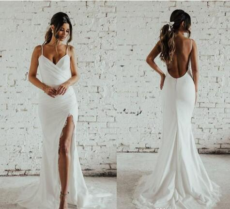 343260dbf14 Sexy Mermaid May Beach Wedding Dresses 2018 Full Lace Spaghetti Backless  Holiday Garden Slit Bridal Gowns