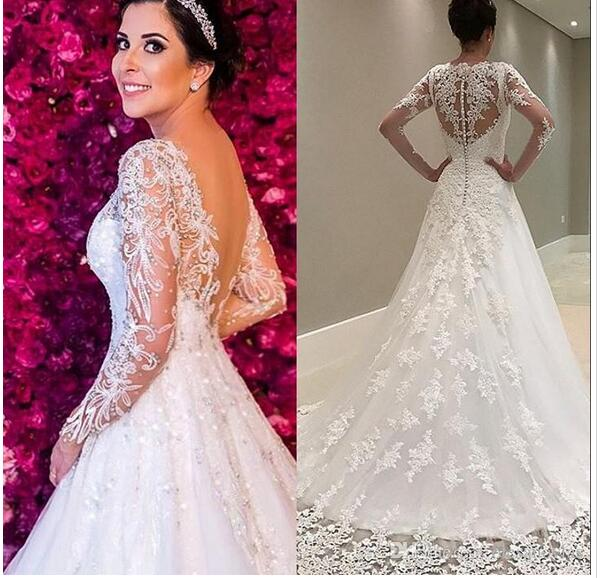 Custom Made Long Sleeves Lace Wedding Dress 2018 V-Back Bridal Dress Vintage Mermaid Lace Appliques Beads Tulle Wedding Gown