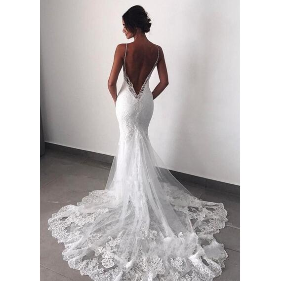 Mermaid Wedding Dresses Lace Dresses Sleeveless Appliques Spaghetti Sexy Backless Long Wedding Gowns Custom Made