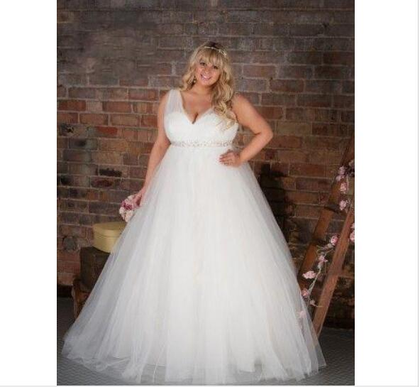 8c35b03768 Vestidos De Novia plus size Wedding Dresses with Sparking Sash Ruched A  Line Floor length V neck Custom Made Tulle Bridesmaid Gown