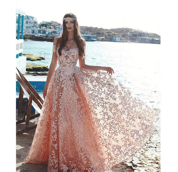 Princess Light Pink Lace Wedding Dress With Off The: Light Sky Pink Floral Embellished Lace Prom Dresses 2019