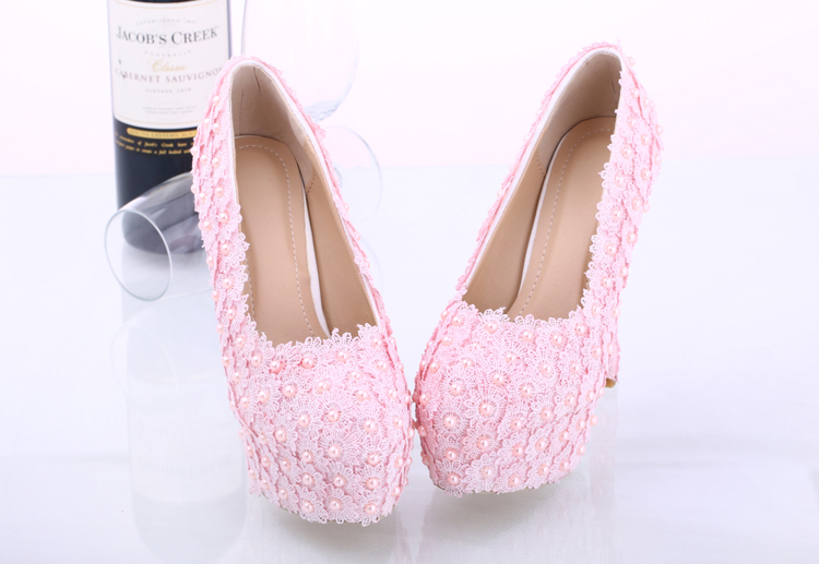Pink High Heels For Wedding: Women Shoes, Light Pink Lace Pearls Wedding Shoes