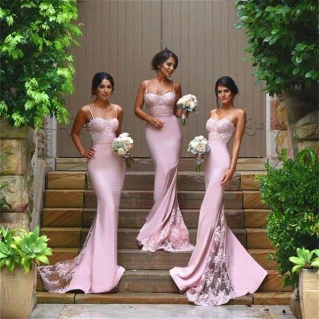 Sexy Prom Dresses,Mermaid Bridesmaid Dresses,Spaghetti Straps Bridesmaid Dresses,2016 Cheap Bridesmaid Dress with Lace Appliques, Wedding Party Dresses,Long Bridal Gown