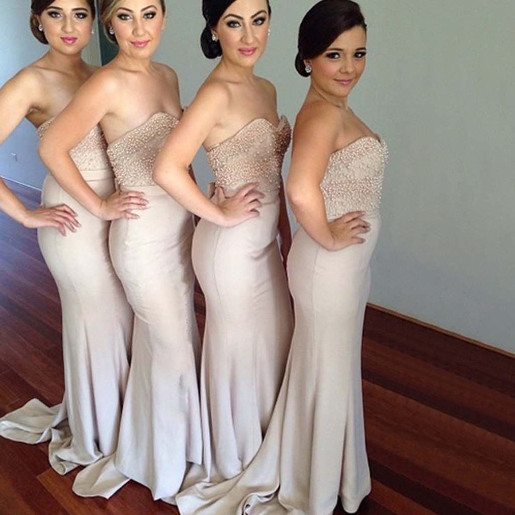 Beading Sweet Heart Sexy Mermaid Women Inexpensive Long Bridesmaid Dresses for Wedding Party Guest