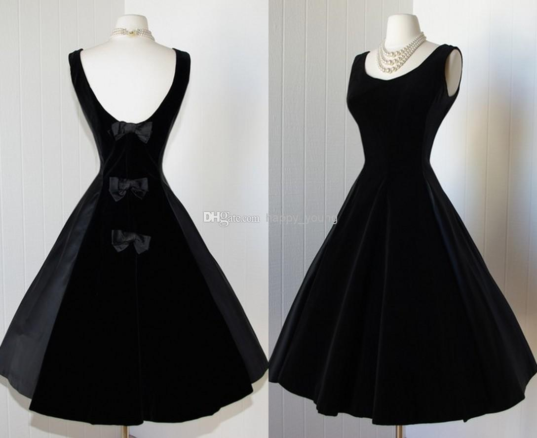 1950S Vintage Prom Dress, Black Velevt Prom Gowns on Luulla