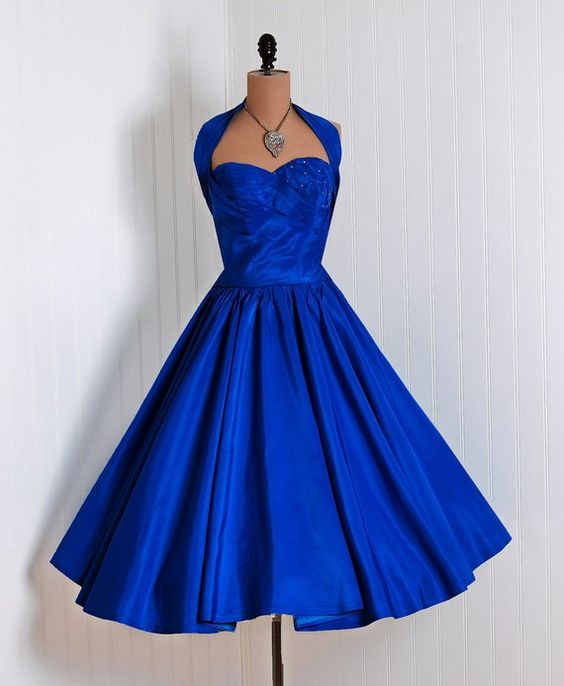 Vintage Dresses Blue Wedding: 1950S Vintage Prom Dress, Royal Blue Prom Gowns, Mini