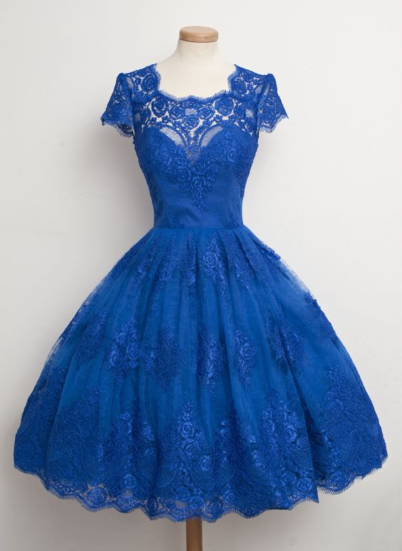 1950S Vintage Prom Dress, Royal Blue Prom Gown, Lace Homecoming ...