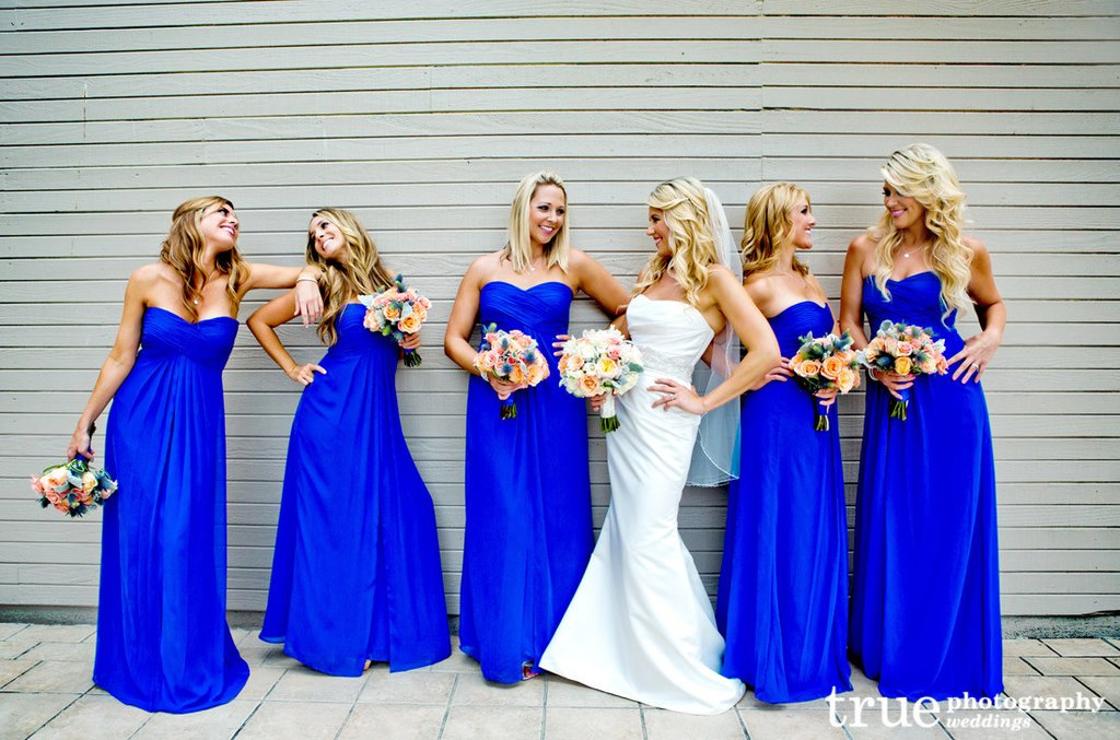 Royal Blue Bridesmaid Dress Long Chiffon Dresses