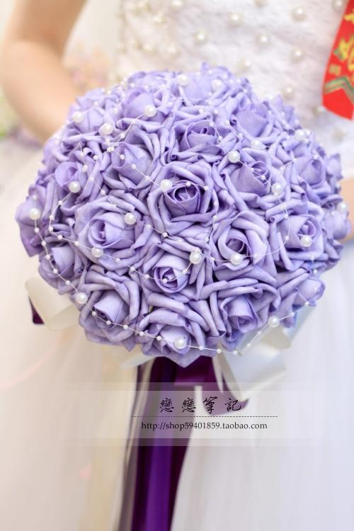 New Arrival Wedding Bouquet Handmade Flowers Purple with Pearls Bridal Bouquet Wedding bouquets