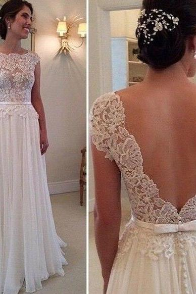 Beach 2017 Wedding Dresses A-line Cap Sleeves Chiffon Lace Backless Wedding Gown Bridal Dress Bridal Gown Vestido De Noiva