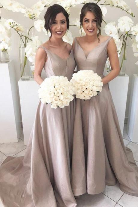 Cheap V-Neck A-Line Bridesmaid Gowns Peach/Champagne/Silver/Coral/Burgundy/Pink/Gold Satin Bridesmaid Dresses Fast Shipping