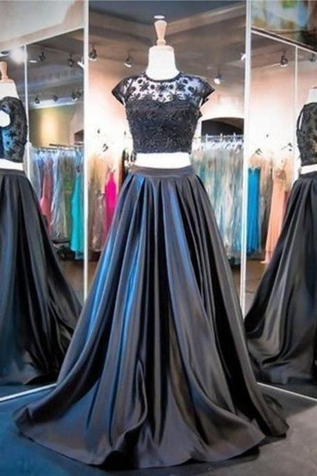 Two Pieces Shining Crystal Prom Dress Court Train Elegant Elasticity Satin Prom Dresses Party Evening Gown Cheap Prom Dresses