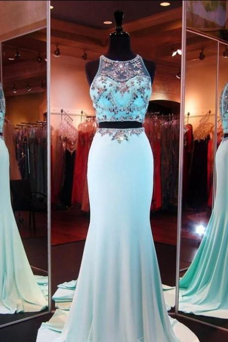 New Arrival Luxury Scoop Sleeveless Two Pieces Mint Green Crystal Beaded Trumpet Satin Prom Dresses Sexy Club Wear Party Gown