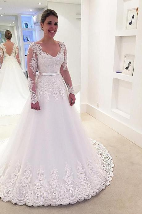 Lace Wedding Dress 2017 Elegant Long Sleeves Backless Wedding Gown Plus Size Vesido De Noiva Wedding Dress