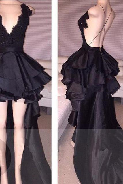 Unique Prom Dress 2018 Short Front Long Back Sexy Backless V Neck Black Satin Prom Gowns Long Elegant Evening Dresses