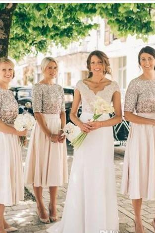 New Blush Bridesmaid Dresses Half Sleeves Sequins Maid of Honor Dress Vintage Tea Length Prom Party Gowns