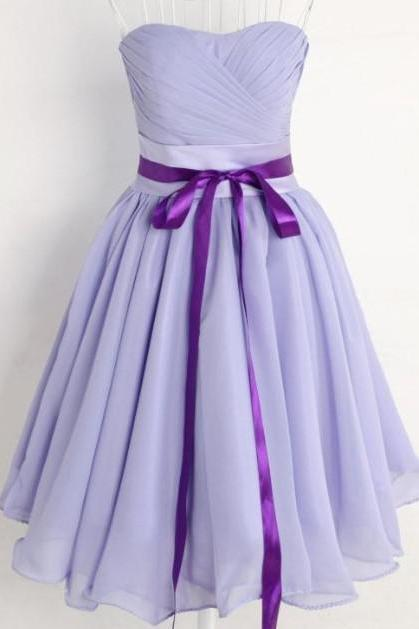 NEW Cheap Purple Sweetheart Knee Length Chiffon Bridesmaid Dresses Junior Formal Bridesmaids Gown Party Cocktail Dress