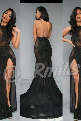 Open Back Sexy Black Prom Dresses 2018 High-Thing Split with Vintage Lace Halter Evening Dresses Formal Red Carpet Gowns Custom Made