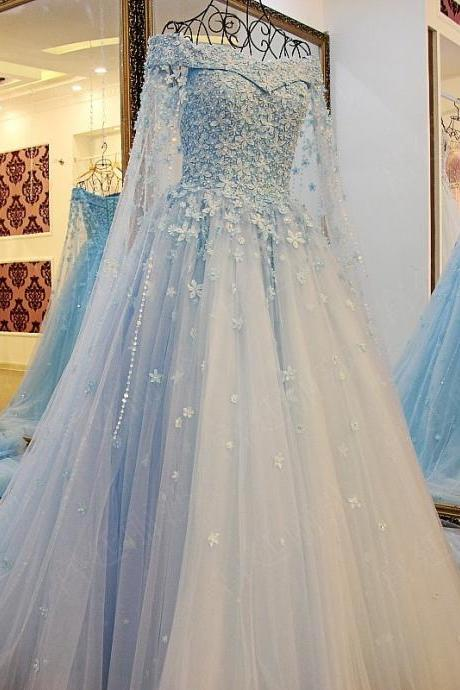 Elegant 2018 A Line Tulle Light Blue Prom Dresses Off the Shoulder Handmade Flowers Pearls Evening Dress Formal Gowns Vestidos