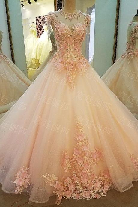 Luxury Colorful Ball Gown Tulle Wedding Dresses Beading Crystals Handmade Flowers Lace Up Bridal Gowns