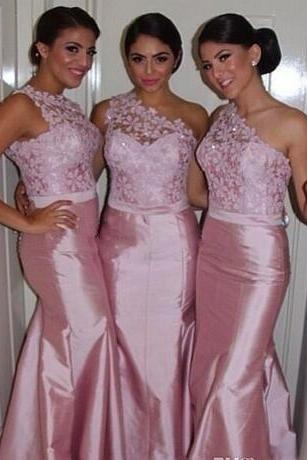 Sexy Pink Lace Mermaid Bridesmaid Dresses One Shoulder Backless 2018 Long Custom Made Formal Evening Prom Gowns Maid of Honor Cheap