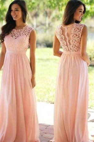 2018 Lace Applique Elegant Bridesmaid Dresses Jewel Sleeveless Wedding Guest Dress Sheer Back Zipper Sweep Train Chiffon Cheap Formal Gown