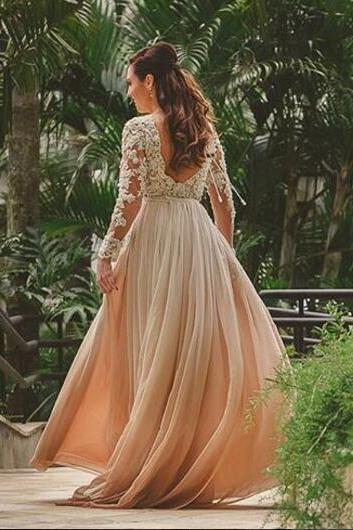 Lace Backless Beach Wedding Dresses Deep V-neck Long Sleeves Beaded A-line Chiffon Bridal Dresses Vintage Wedding Gowns